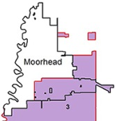 District 3 map - Some portions of District 3 (purple area) are within the City of Moorhead