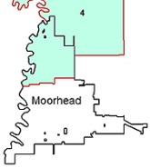 District 4 map - Some portions of District 4 (blue-green area) are within the City of Moorhead